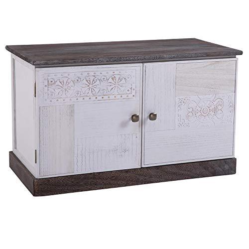 CARO-Möbel Schuhbank Juna Garderobenbank Schuhregal in braun/weiß lackiert im Vintage Design