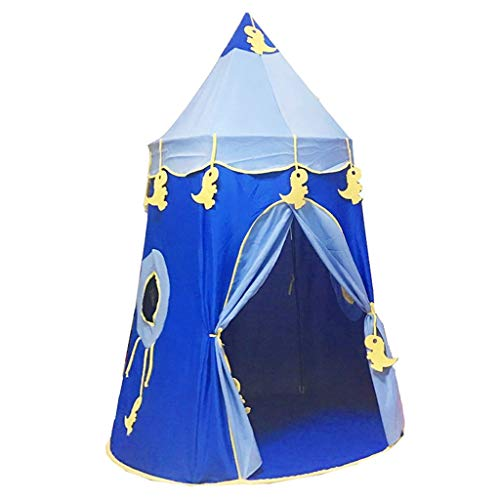 Tents Cartoon Tipi Teepee, Princess Yurt Outing Play for Boy Girl's Castle Indian Play for Kindergarten (Color : Blue, Size : 120 * 120 * 165CM)