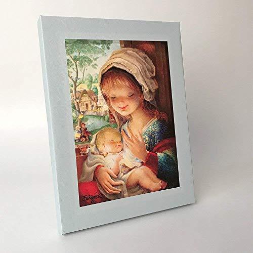 Virgen lago 30x40cm. Ilustración de Juan Ferrándiz impresa en lienzo. Serie limitada y numerada. Regalo Comunión y Bautizo