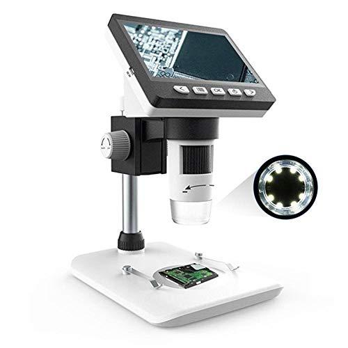 YELLAYBY 1000X HD1080P Microscopio digital de 4.3 pulgadas Microscopio digital Microscopio de escritorio Microscopio de escritorio de lupa de lupa de lupa soporte 10 idiomas Observación Natural/Inspe