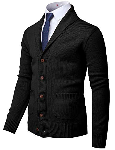 H2H Mens Casual Slim Fit Cardigan Sweater Cable Knitted Button Black US 2XL/Asia 3XL (CMOCAL037)