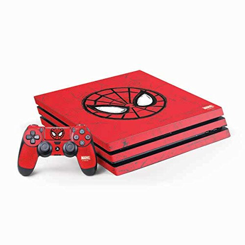 Skinit Decal Gaming Skin Compatible with PS4 Pro Console and Controller Bundle - Officially Licensed Marvel/Disney Spider-Man Face Design