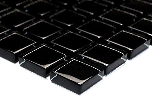 Mosaik-Netzwerk Mosaikfliese Quadrat Crystal uni schwarz Glasmosaik Transluzent Transparent 3D Fliesenspiegel, Mosaikstein Format: 25x25x8 mm, Bogengröße: 327x302 mm, 1 Bogen / Matte
