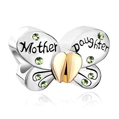 PoeticCharms Ciondolo a forma di farfalla in argento Sterling 925, con cuore, amore, mamma, figlia e cristalli, per braccialetti Pandora, Argento sterling,