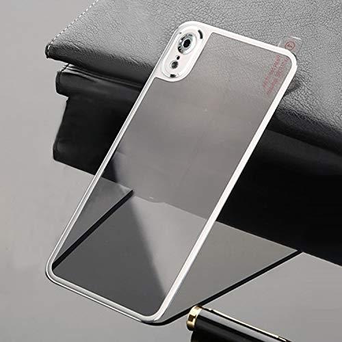 No Brand® luifel gemaakt van gehard glas, screen protector gemaakt van titaniumlegering, metalen rand, volledige afdekking, gehard glas voor iPhone XR (zwart), zilver.