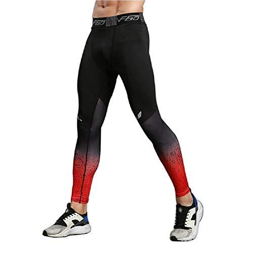Ducomi Pantalones Deportivos de Compresión - Pantalones de Yoga Elásticos para Hombres - Mallas Deportivas Estampadas - Entrenamiento Físico Masculino Gimnasio Ejercicio Correr (Rojo, EU XS)