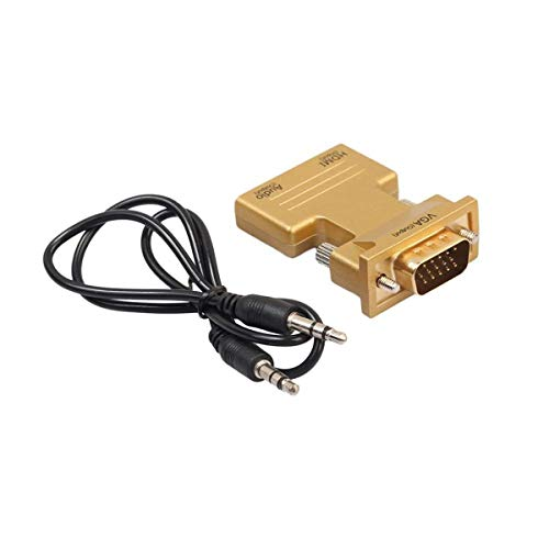 HaiQianXin 1080P HDMI Vrouwelijke naar VGA Mannelijke Converter Adapter Dongle met 3,5 mm Stereo Audio (Kleur : Goud)