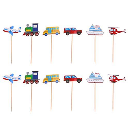 TOYANDONA Transporte Cupcake Toppers Coche Autobús Tren Avión Barco Vehículo Pastel Toppers Selecciones para Baby Shower Fiesta de Cumpleaños Diy Decoración de La Torta 24Pcs