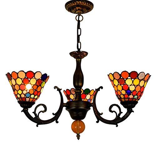 Vintage Tiffany-Style 3-Arm Kroonluchters Handmade Stained Glass Barok verstelbare hanglamp voor Living Eetkamer Slaapkamer Cafe, E27