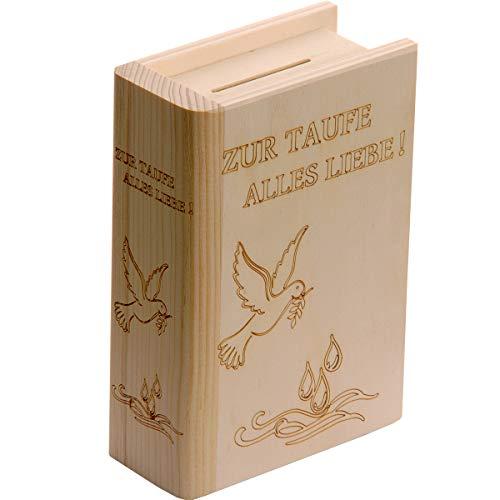 Spruchreif PREMIUM QUALITÄT 100% EMOTIONAL · Spardose Buch aus Holz mit Gravur zur Taufe · Motiv Taube · Sparbüchse für Jungen und Mädchen · Taufgeschenk