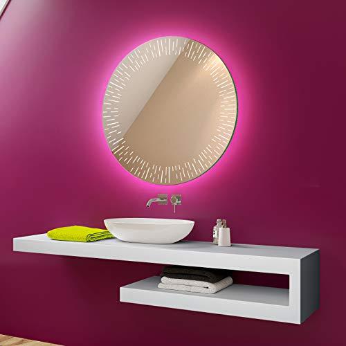 FORAM Anpassen Design Badspiegel mit LED Beleuchtung - Individuell Nach Maß mit Schalter zu Wählen - Beleuchtet Rund Wandspiegel Lichtspiegel Badezimmerspiegel A++ Kaltweiß Warmweiß Modell L35