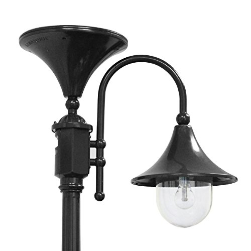 Gama Sonic GS-109S-B Everest Downlight Lamp Post Outdoor Solar Light Fixture and Pole, Black