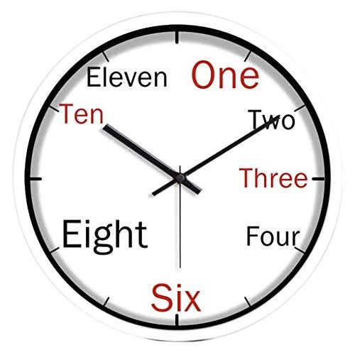 Nawzhq 10 inch Modern Kleurrijke Elegant Nee Tick Mute Familie keuken/woonkamer Wandklok - Digitale Tijd in het Engels (wit) Clock