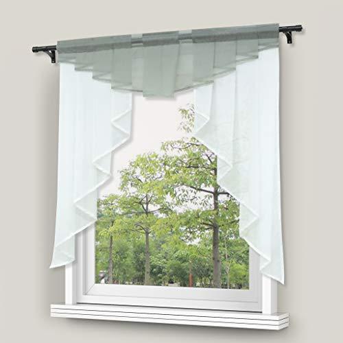 Yujiao Mao Kleinfenster Voiie Fenstergardine Scheibengardine mit Falten Silber BxH 120x125cm