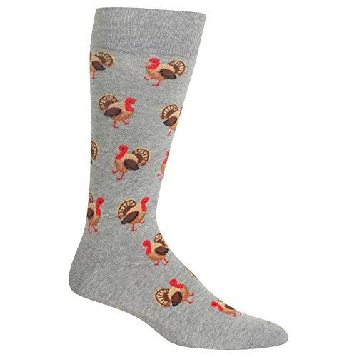 Hot Sox Herren Urlaubs-Socken, Truthahn (graues Heather), Schuhgröße: 39-40