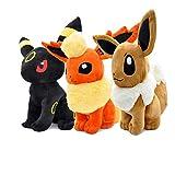 qinhuang 3 Piezas Pokemon Eevee Peluches 26 Cm, Suave Eevee Vaporeon Flareon Umbreon Peluche Muñecos De Peluche Suaves Animales para Niños