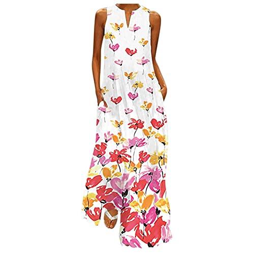 WOZHENNIU Vestito Lungo da Donna Stampa Floreale Farfalla Bohémien Etnico Vestito Taglia Maniche con Tasca Grossa Senza (Pink, M)