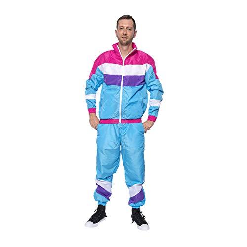 Kostümplanet 80er Jahre Kostüm Herren Trainingsanzug 80s Outfit Jogginganzug Style Mode Motto-Party Karneval Fasching Bad Taste hellblau Größe 48/50