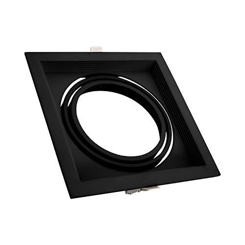 Aro Downlight Cuadrado Basculante Aluminio para Bombilla LED AR111 (Negro)