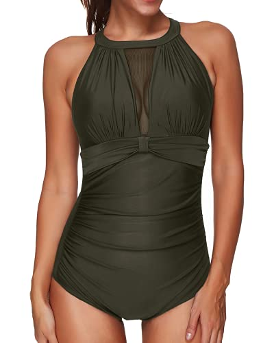 Tempt Me Women One Piece Swimsuit Army Green High Neck Mesh Ruched Swimwear M