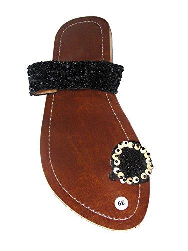 Damen Flip Sandale Knopf Schwarz Zehentrenner Zehenpantolette Sommersandale Zehenstegsandale mit Perlen und Pailletten