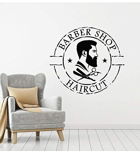 JXFM 140x128cm DIY Benutzerdefinierte Größe und Farbe Barber Haarschnitt Zitate Wandaufkleber Männer Friseur Schere Schiene Werkzeuge Professionelle Dienstleistungen Vinyl Glastür Aufkleber