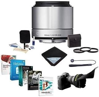 Sigma 60mm f / 2.8DNアートレンズfor Micro Four Thirdsカメラ、シルバー–Bundle with 46mmフィルタFlexレンズシェード、LenscapリーシュII、クリーニングキット、レンズキット、ラップ、Proソフトウェアパッケージ