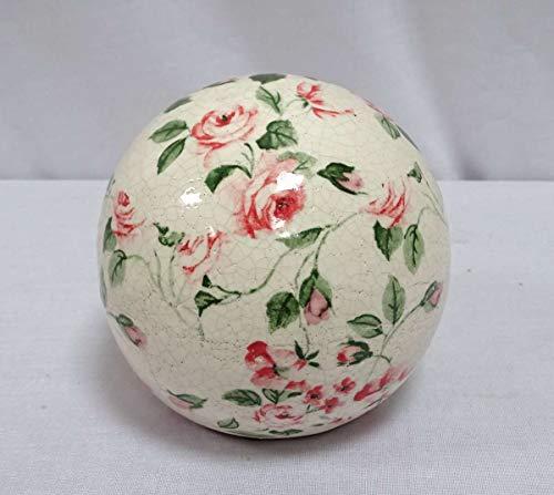 linoows Rosenkugel, Beetkugel, Gartenkugel mit Rosenmuster, Keramik Kugel, 16 cm
