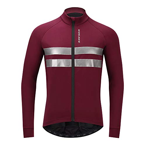 WOSAWE Giacca da Ciclismo per Uomo a Vento Antivento Impermeabile a Maniche Lunghe Abbigliamento Sportivo per Autum Inverno (Rosso XL)