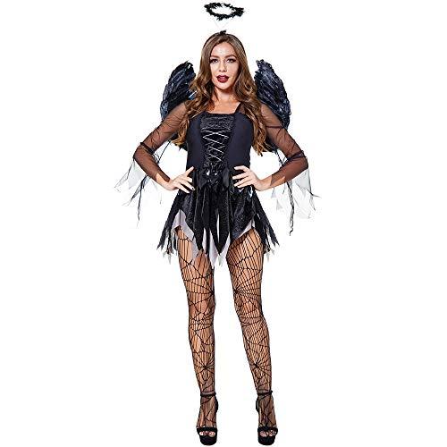 Disfraz de ángel caído negro – Ropa de Halloween para mujer Sexy Wing Festival Cosplay Ropa Dark Angel Corsé Vestidos Disfraces (negro S-3XL)
