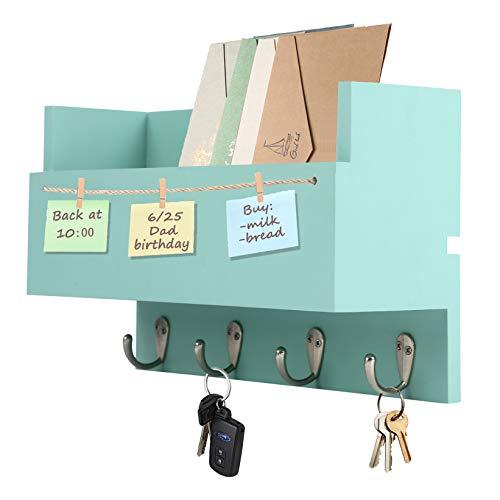 Halcent Wand Zeitschriftenhalter Zeitungsständer Holz Briefablage Wandgarderobe Schlüsselbrett Zeitungshalter Wandorganizer Schlüsselhaken für Schlüsseln Briefen Prospekten