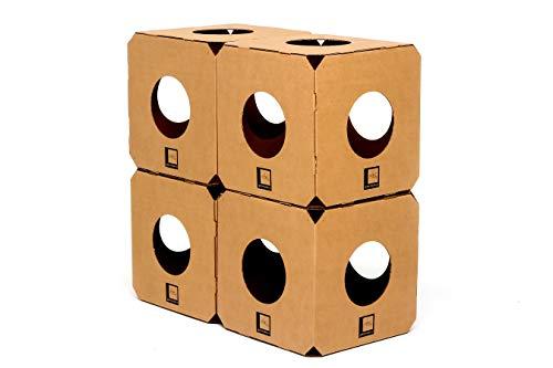 Gatomoderno Brinquedo para Gatos Labirinto Kit 4 Cubos de Papelão Kraft, Casa para Gatos, Nicho para Gatos, Toca para Gatos, Play Cat