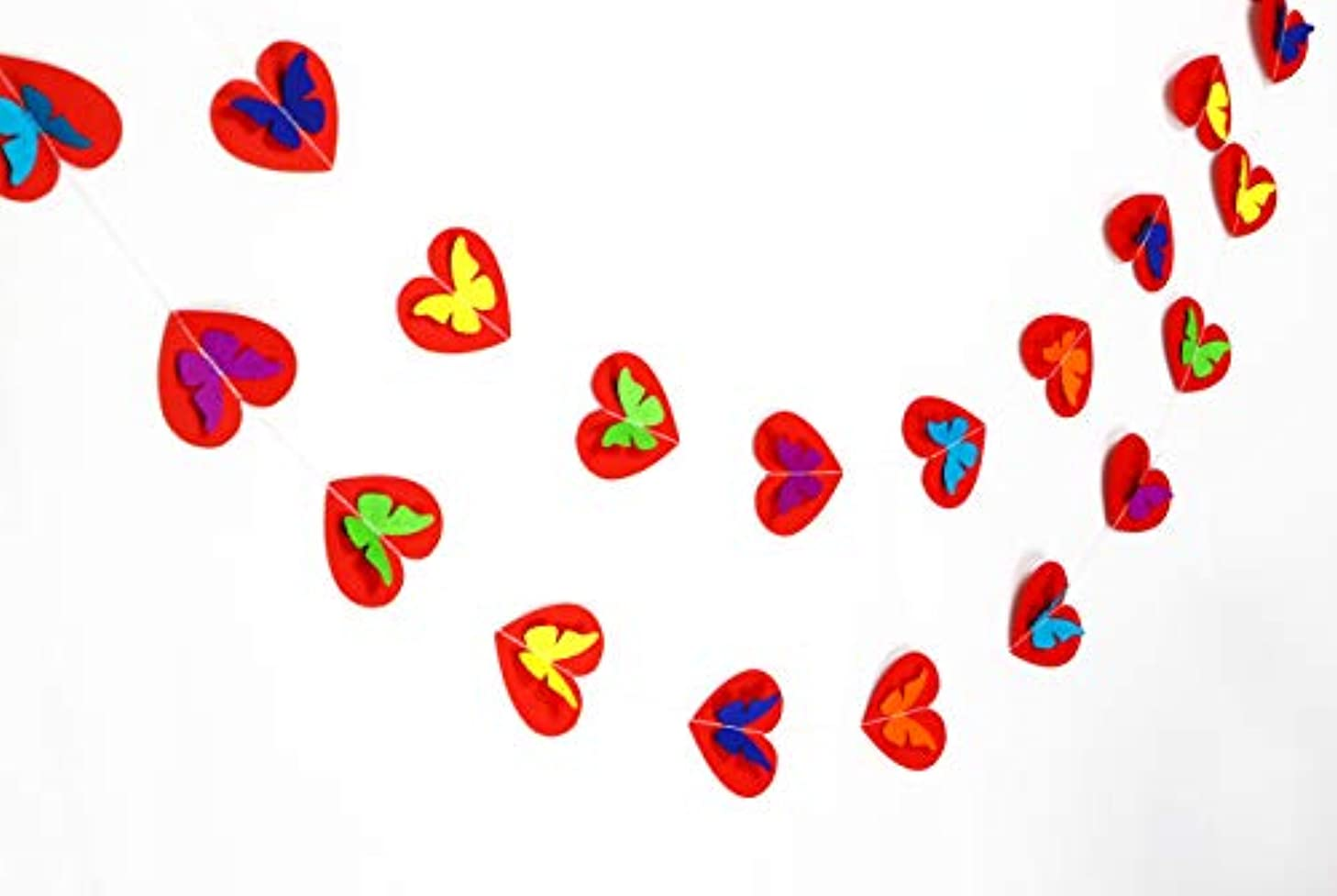 Red heartin and Butterfly 10ft dot Paper Garland, Birthday Party Decor, Wedding Shower Decor, Nursery Décor