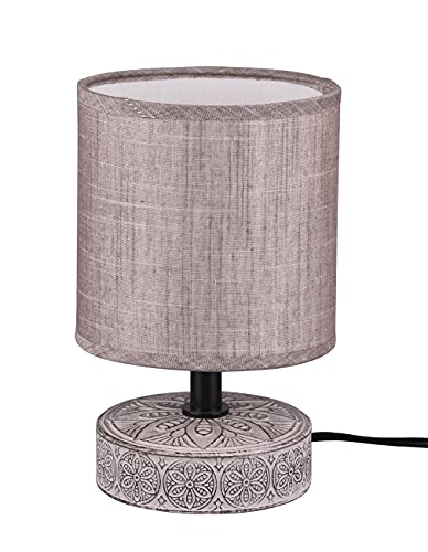 Lampada Da Tavolo Base Ceramica Decorata con Paralume Abat jour Da Comodino Lampada Da Scrivania Lume adatta in Camera Studio Salotto H. 20,5CM (marrone)
