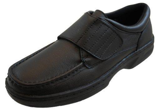 Dr Keller Hombre Cierre De Velcro Cierre Cuero Comodidad Ancho Zapatos - Negro, 23 EU