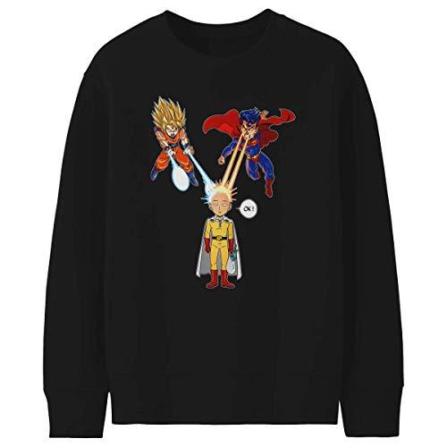 Felpa Nera Bambino e Ragazzo - Parodia One-Punch Man - Dragon Ball Super - Superman - Saitama, Son Goku e Superman - (Felpa di qualità Premium in Taglia 11-12 Anni - Stampata in Francia - RIF : 937)