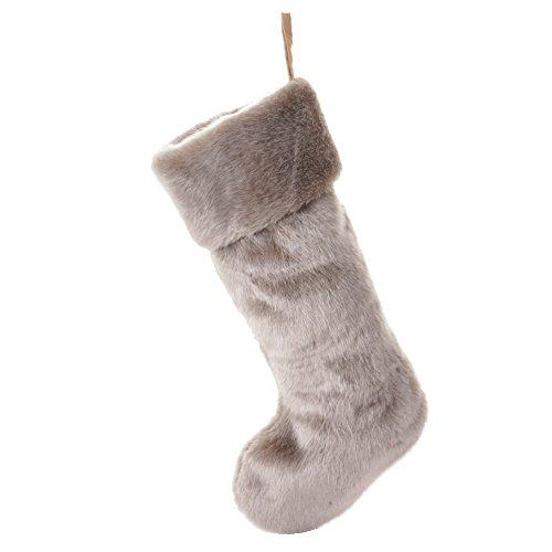 Moderno lusso in finta pelliccia calza con forte gancio per contenere una generosa quantità di regali. Lussuoso e decorativo. Una grande aggiunta al tuo ingresso. Questo natalizio. L 50cm