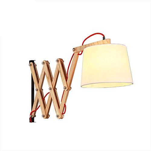 Amkoc Wandleuchte Holz Eiche Scissor Ausziehbare Teleskop Wandlampe Bettleuchte Leselicht, für Wohnzimmer Schlafzimmer Lampe Leuchten Beleuchtung innen E27 Fassung
