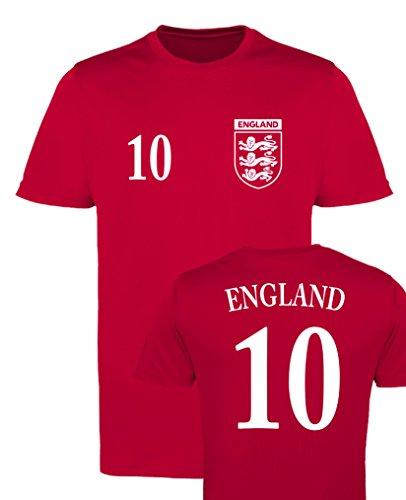 WM EM Trikot - England 10 - Herren T-Shirt - Rot/Weiss Gr. XXL