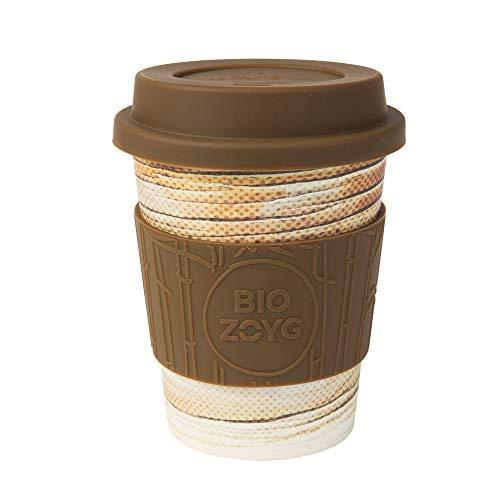 BIOZOYG Taza de café Ecológica I Taza térmica con Tapa y Agarre de Silicona I Café para Llevar Taza ecológica de bambú I Taza de café Hecha de Fibra de bambú Wood 400 ml