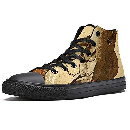 Deyya High Top Sneaker für Herren Vintage Hipster Tier Camel mit einer Pfeife und einem Monokel Druck Mode Schnürschuh Canvas Schuhe Casual Walking Schuh, Mehrfarbig - mehrfarbig - Größe: 38 2/3 EU