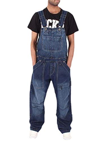 securiuu Herren Hose, Männlicher Jumpsuit Löcher Ripped Casual Jeans Washed Overall Pocket Hose Gr. US X-Large, 1