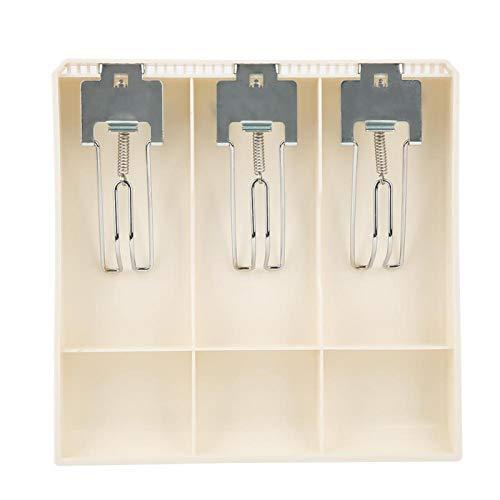 Cajón de dinero Insertar caja registradora Insertar dinero Caja de almacenamiento 3 billetes 3 monedas con clip de metal para tienda de supermercados (blanco)