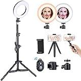 Luz de Anillo LED VicTsing, Ring Light con 5 Temperaturas de Color y 5 Modos de Brillo, Trípode con Soporte Ajustable, para Selfie, Maquillaje, Youtube, TIK Tok y Selfie Video