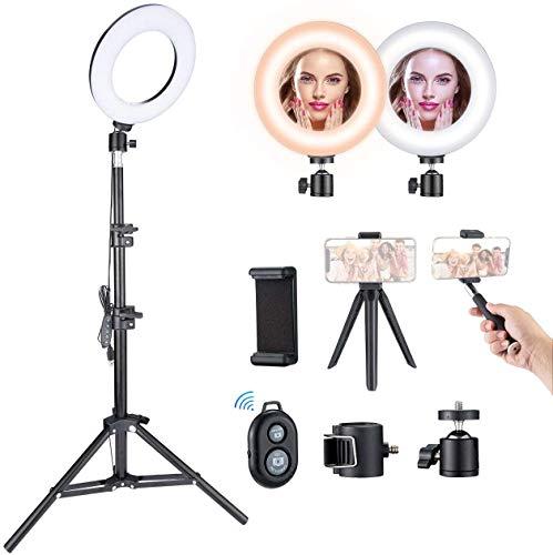 Anillo de Luz VicTsing, Aro de Luz para Maquillaje, 5 Temperaturas de Color y 5 Modos de Brillo, Máximo 1200 lúmenes, Trípode Ajustable 43-110 cm, Youtube y Selfie Video