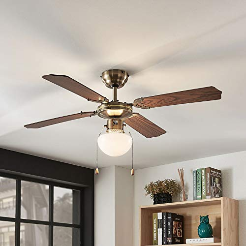 Lindby Deckenventilator mit Beleuchtung und Zugschalter leise   2-in-1: Ventilator & Lampe   Durchmesser: 106,6 cm   3 Geschwindigkeitsstufen   Sommer- & Winterbetrieb