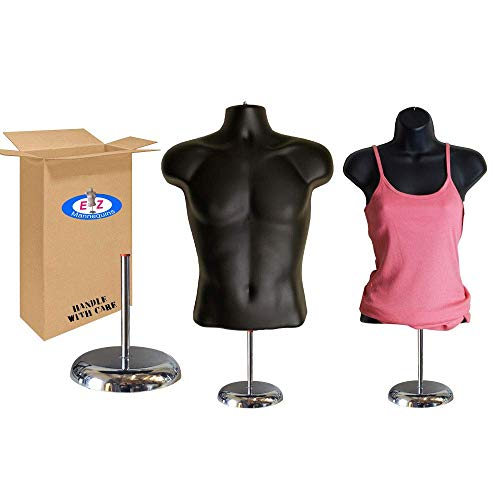 "Male + Female Mannequin Torso by EZ Mannequins, Dress Form Body Display Stand, Easy Set Up and Transport, Great for Indoor Or Outdoor Table Products, Deluxe 8"" Metal Base. (Black)"