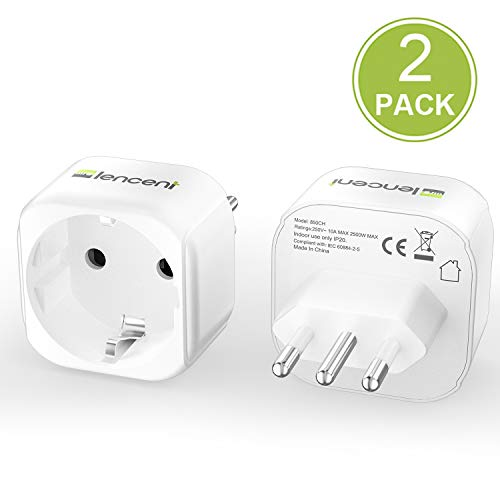 Lencent 2X Reiseadapter DE zu IT Reisestecker Typ-L Schuko Netzadapter auf Italien Chile Malediven Uruguay Syrien Steckdosenadapter
