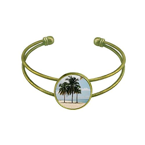 DIYthinker Ocean Sand Strand Meer Baum Bild Armband Armreif Retro offene Manschette Schmuck