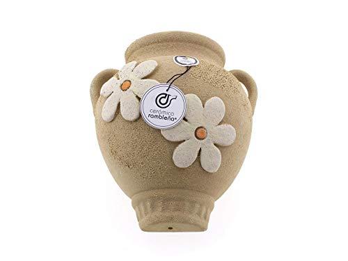 Ceramic Rambalena | Vaso da appendere con orza | Vaso di terracotta da appendere | Vaso da parete con orzo marrone decorato - Modello 10 | 100% Decorato a mano | 23 x 21 x 16 cm